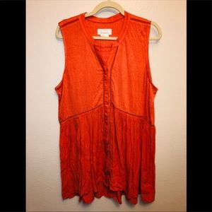 Anthropologie Coral Sleeveless Tunic Top